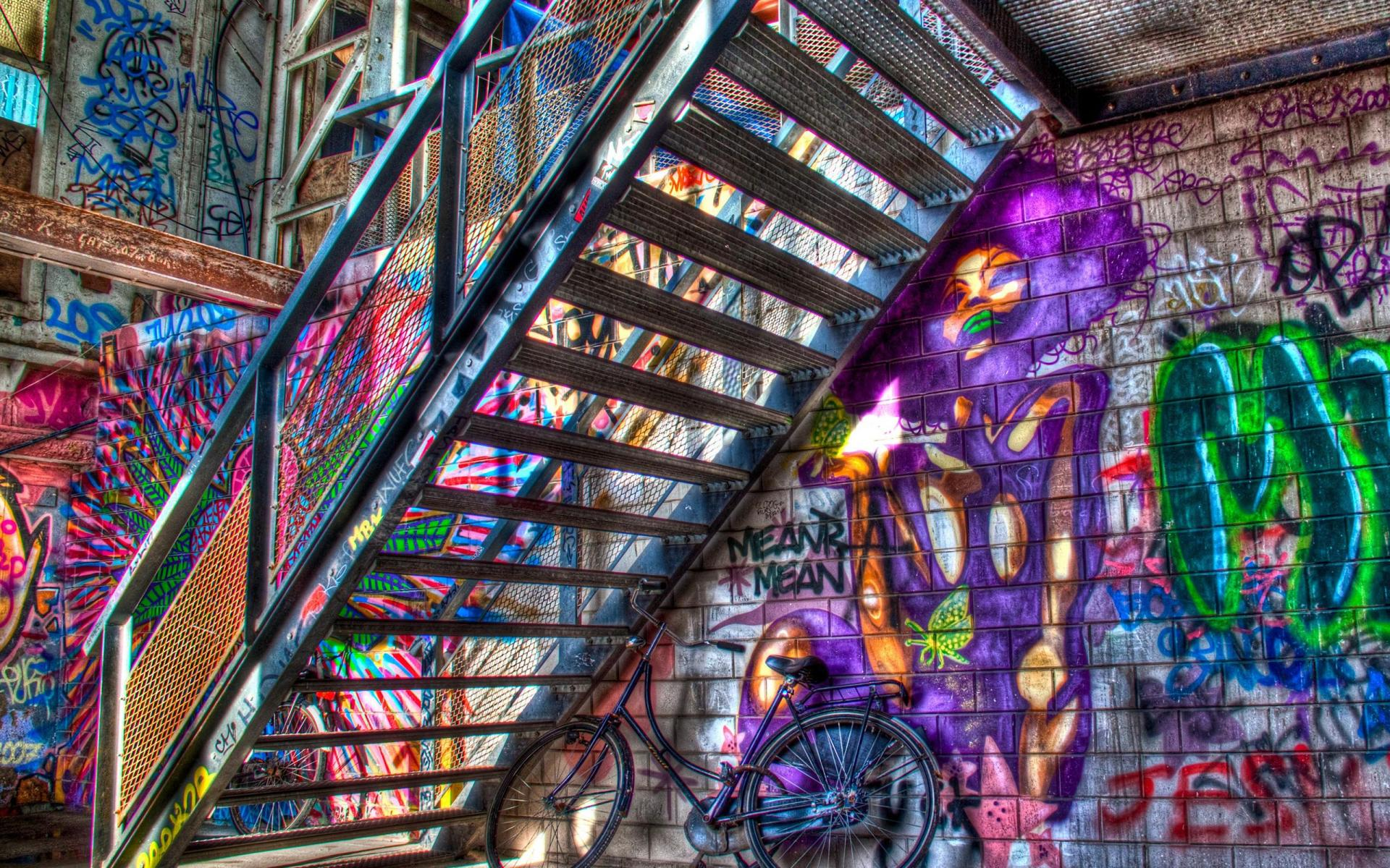 Graffitit color stairs urban art psychedelic wallpaper ...