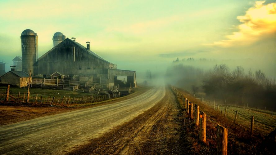 nature landscapes farm rustic roads fence sky clouds houses barn farm wallpaper
