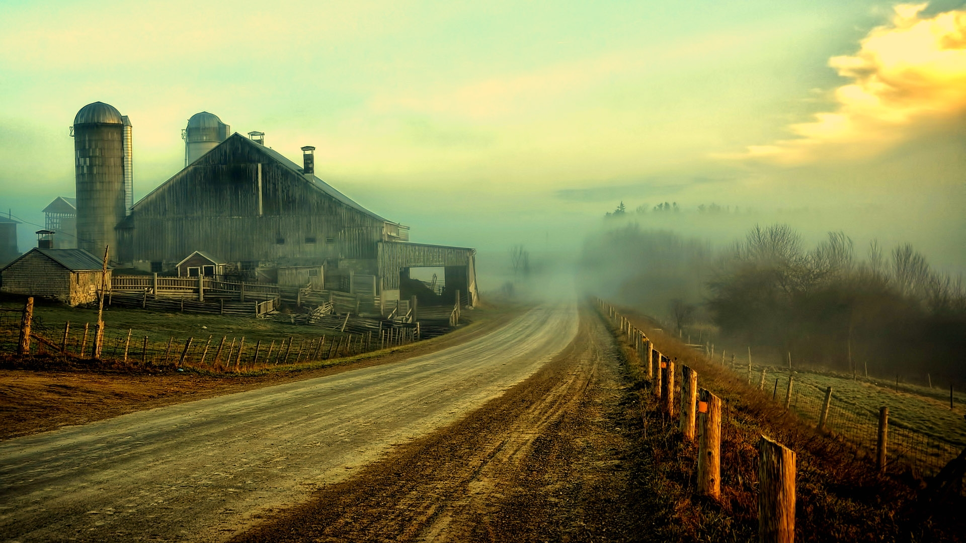 Nature Landscapes Farm Rustic Roads Fence Sky Clouds Houses Barn Wallpaper