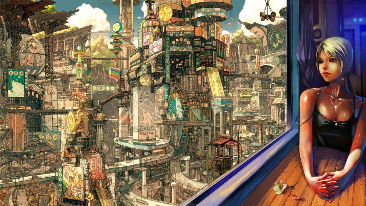 original fantasy cities detail wallpaper