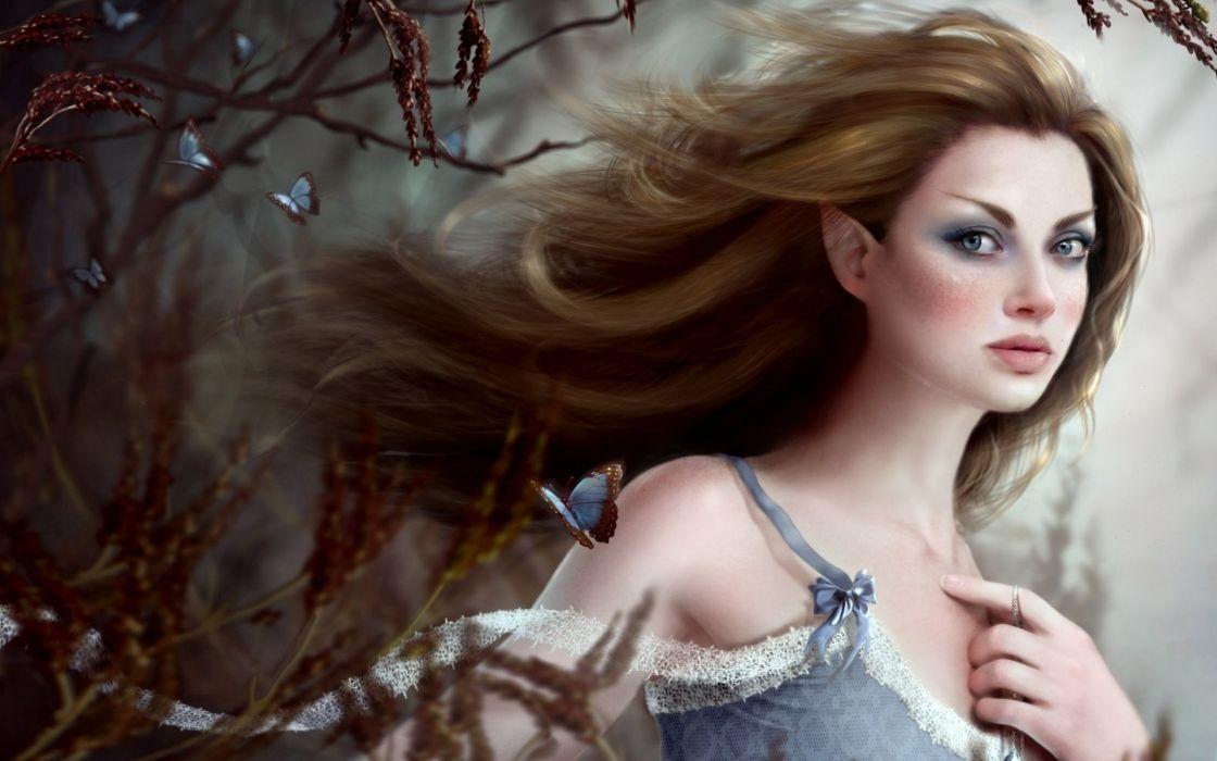 cg digital art fantasy women butterfly mood brunette elf wallpaper