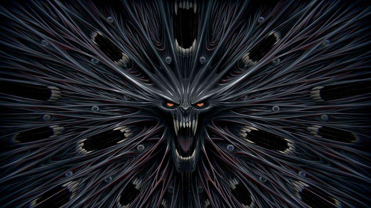 dark skull vampire fangs fantasy wallpaper