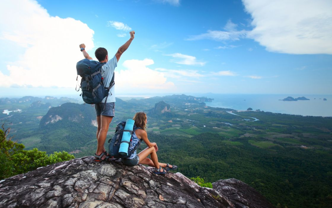 Hiking people men women landscapes scenic mountains sky clouds mood wallpaper