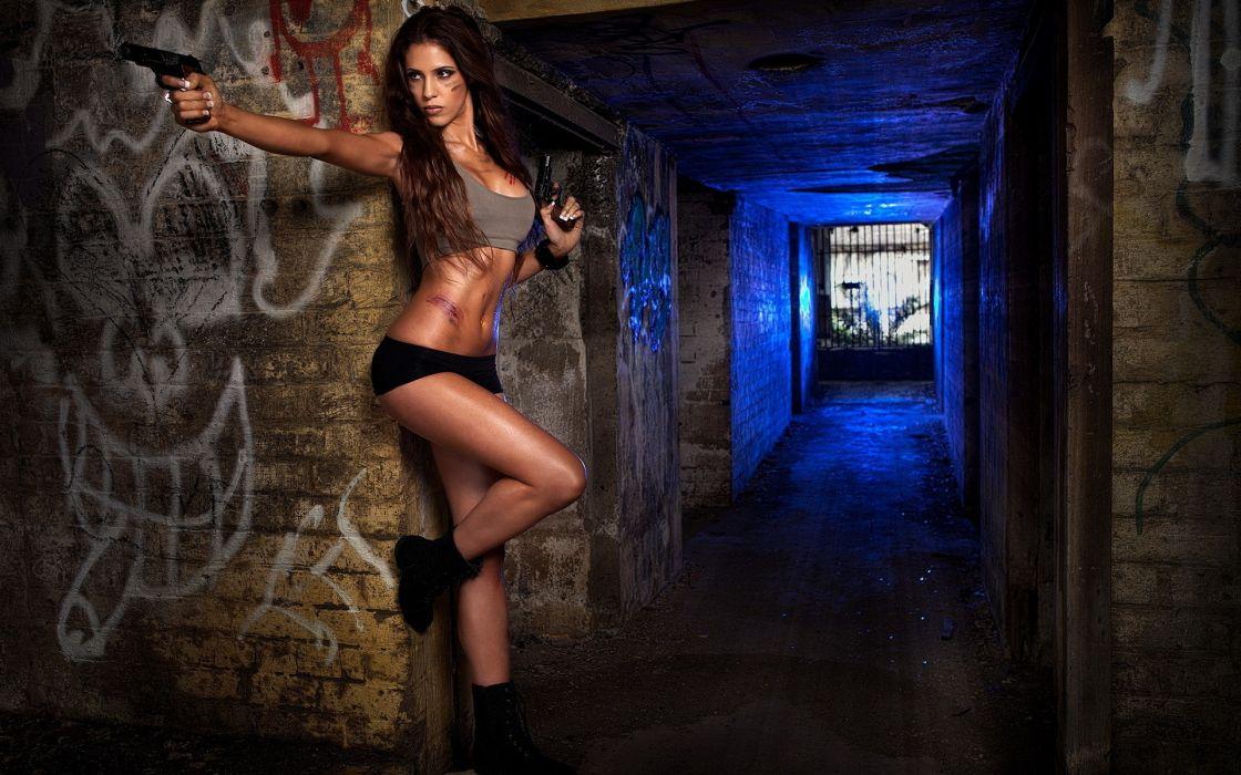 women model sexy situation mood weapons guns pistol wallpaper
