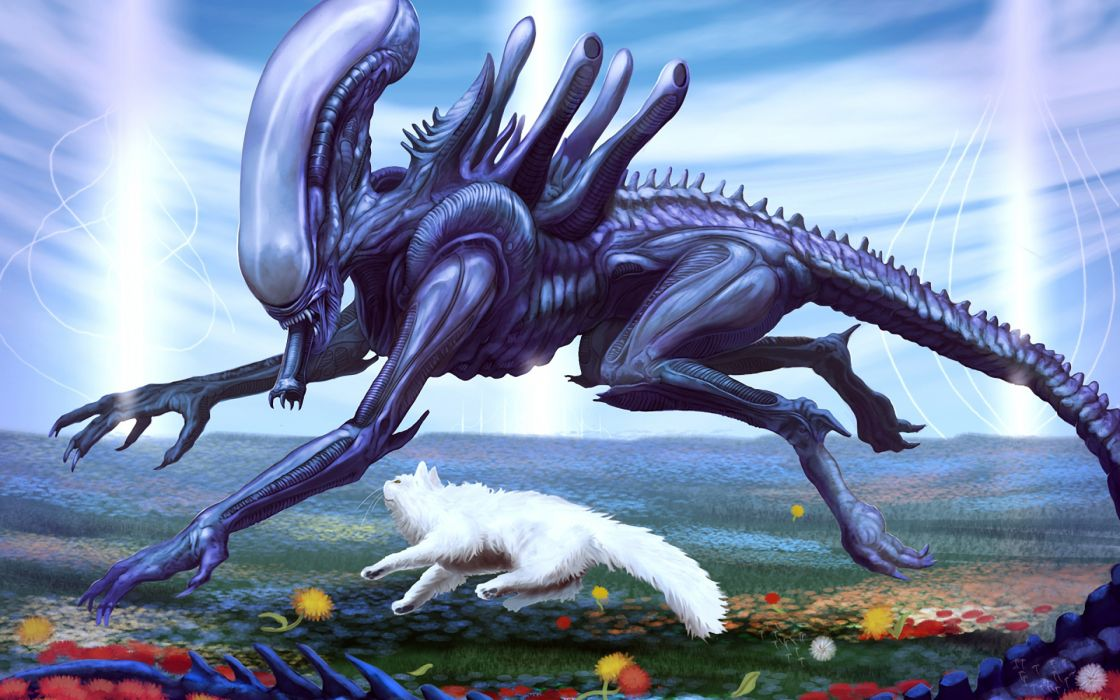 sci fi aliens cats animals art humor movies wallpaper