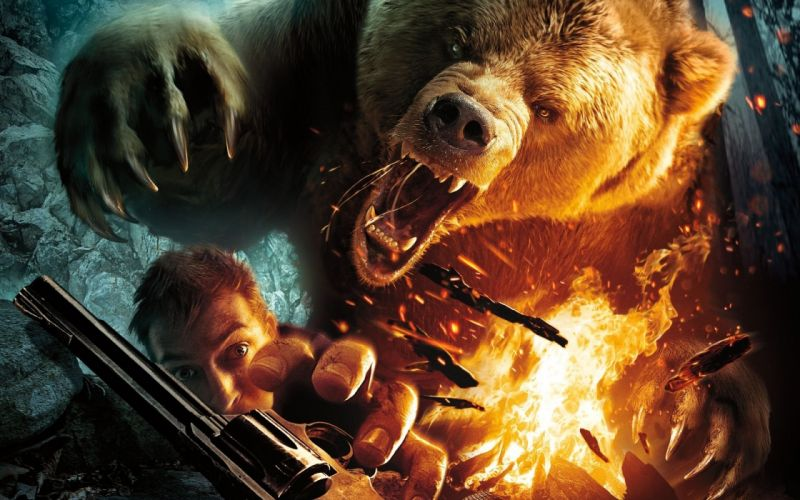 Cabela's Dangerous Hunts bear animals battle fire explosion weapons guns pistols dark horror scary creepy spooky wallpaper
