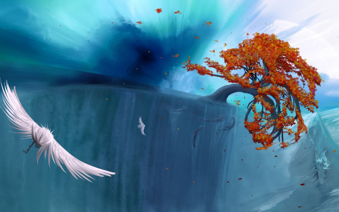 fantasy art surreal animals birds fishes ocean sea trees autumn fall leaves wallpaper