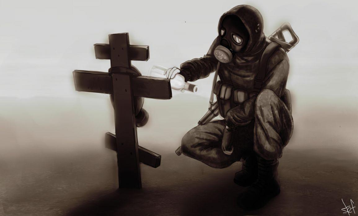 dark gas mask anarchy apocalypse weapons guns mood wallpaper