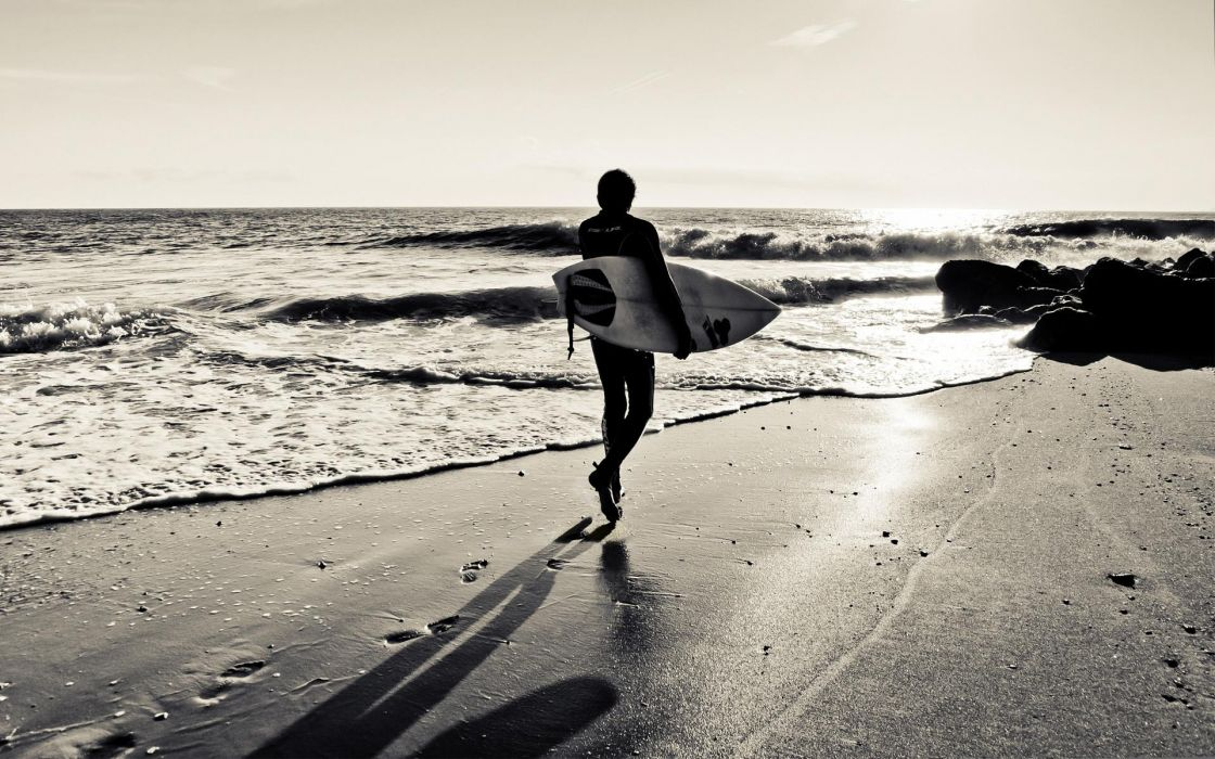 surfing surfboard beaches ocean sea waves black white sky sunset sunrise wallpaper
