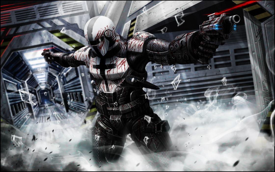 Sci fi science futuristic warrior weapons guns pistol ...