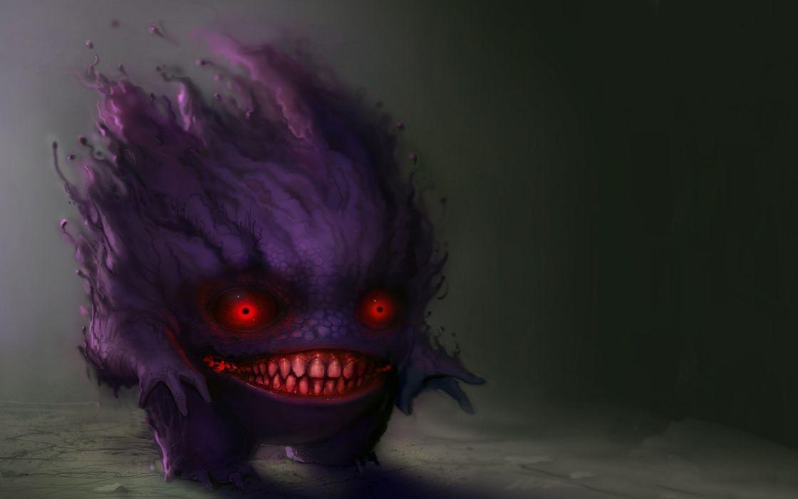 dark monster creature fangs demon wallpaper