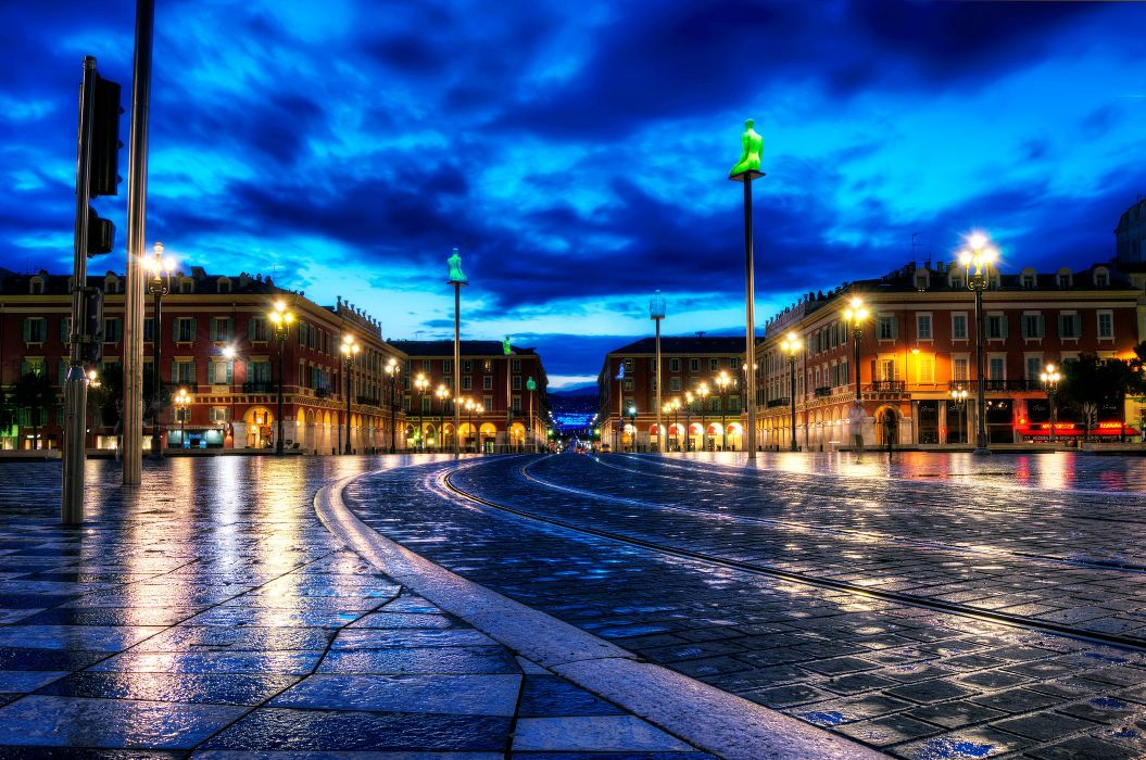 France Night City Roads HDR wet rain lights sky clouds roads wallpaper