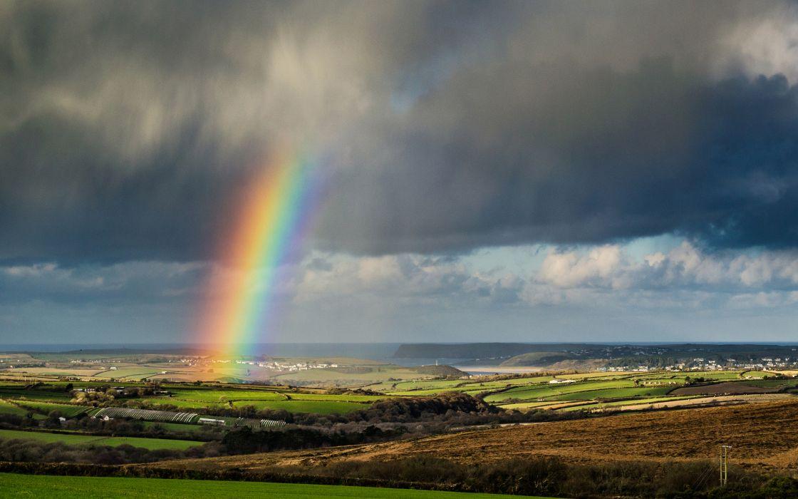 rainbow storm rain sky clouds wallpaper