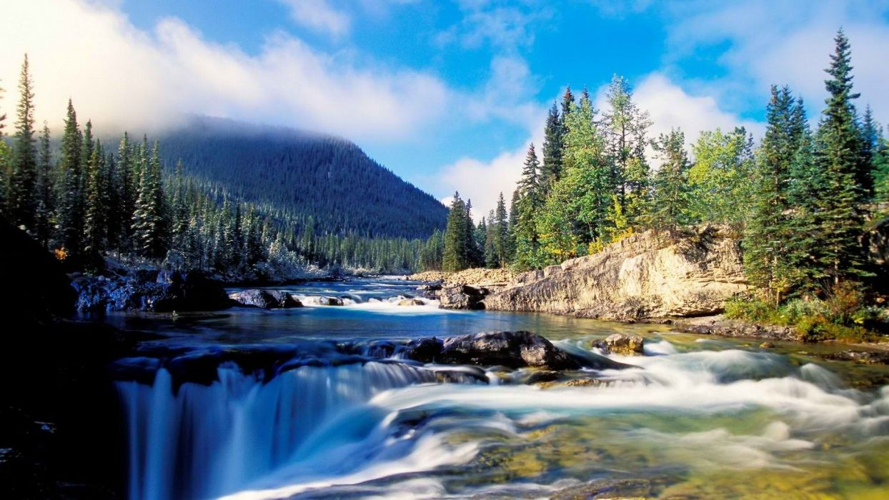 rivers spray tees forest mountains sky clouds wallpaper