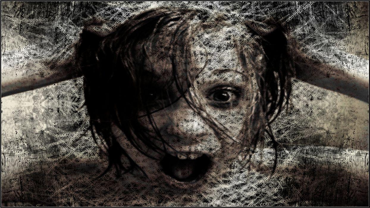 dark gothic horror scream creepy spooky face eyes girl wallpaper