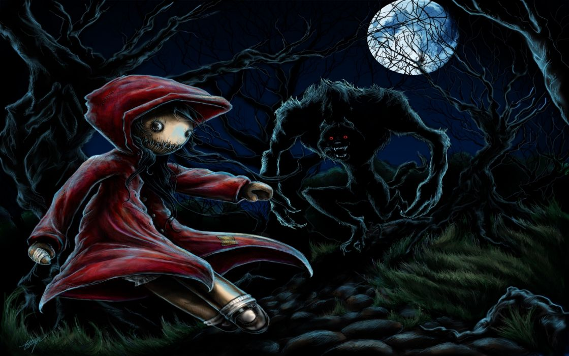 dark wolf wolves animals trees forest red riding hood monster creature halloween wallpaper