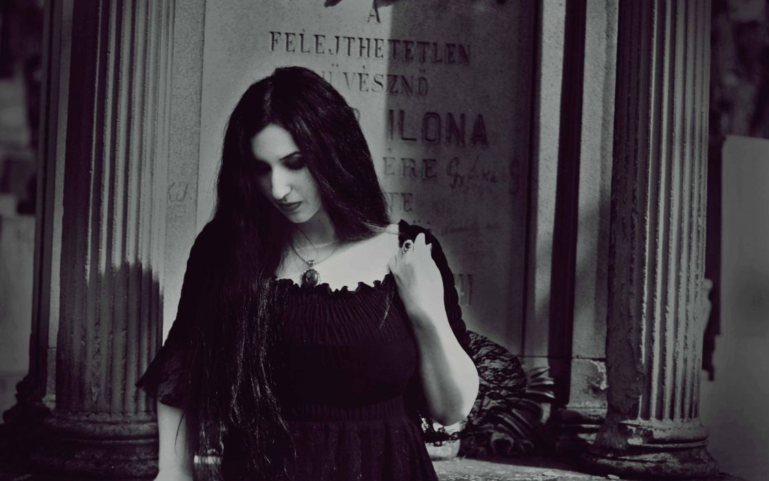 dark gothic cemetery grave mood sad sorrow women black white brunette pale wallpaper