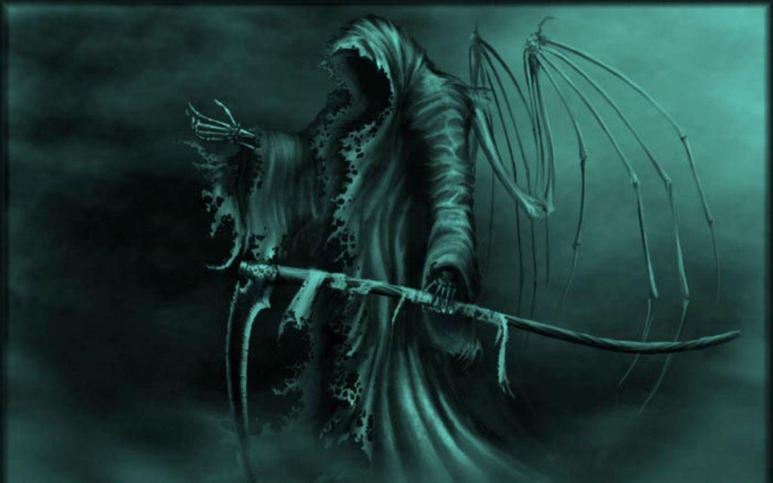 grim reaper scythe dark horror wallpaper