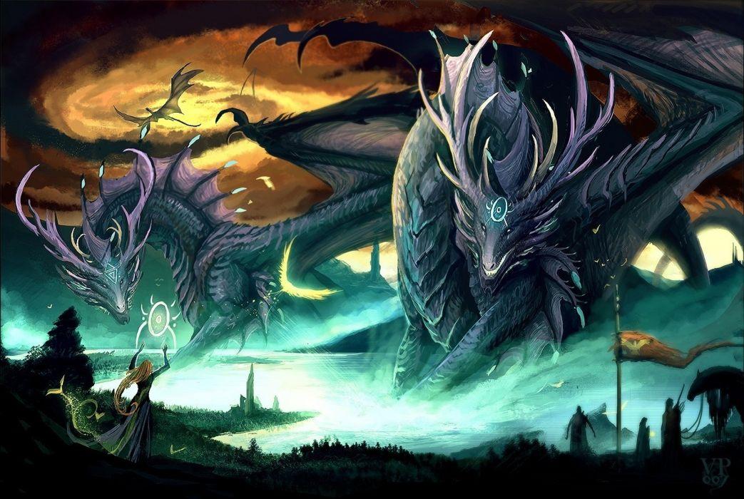 fantasy dragons magic wallpaper