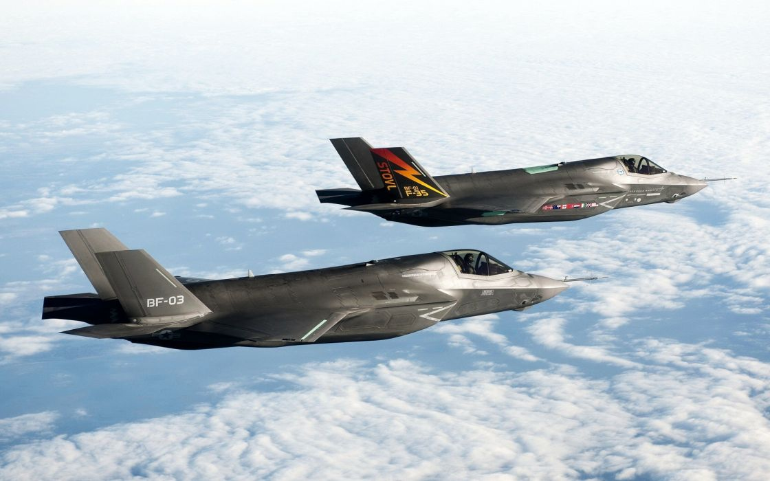 Aircraft jet aircraft f-35 lightning ii skyscapes wallpaper