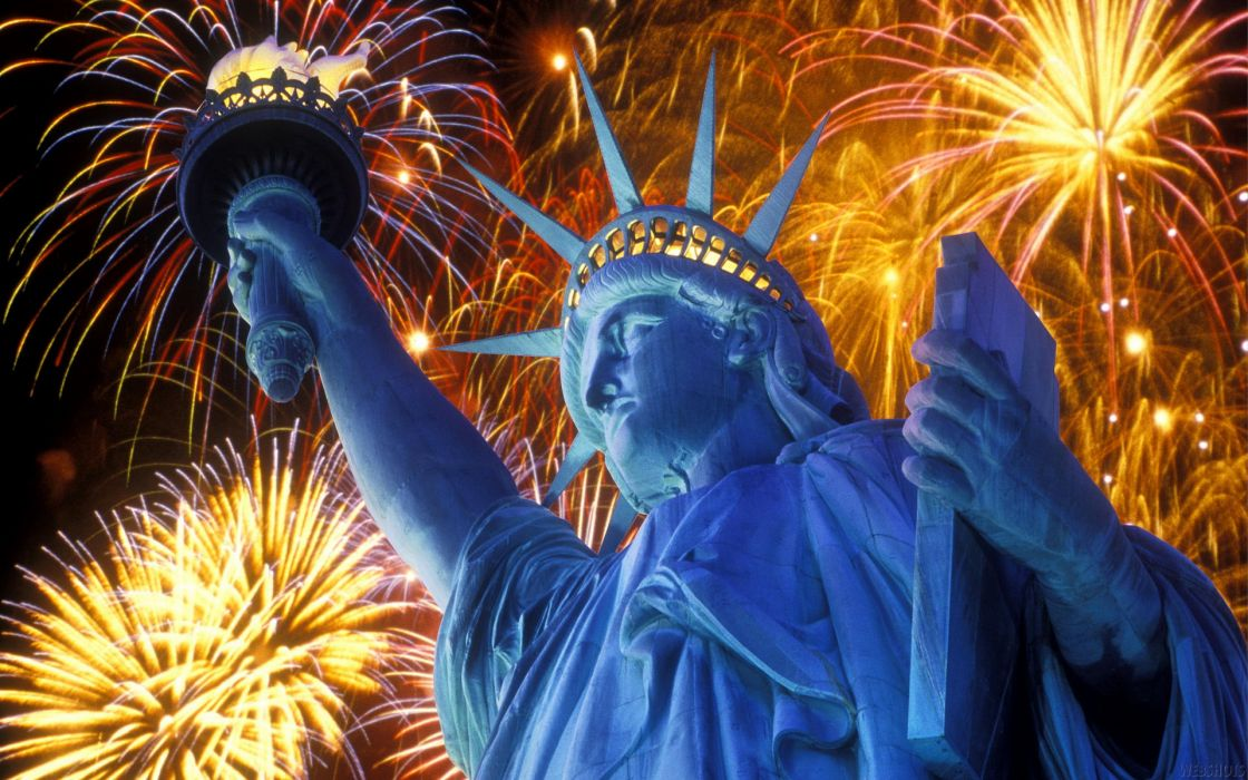 statue of liberty july fireworks wallpaper