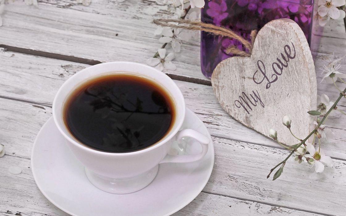 drinks coffee heart wallpaper