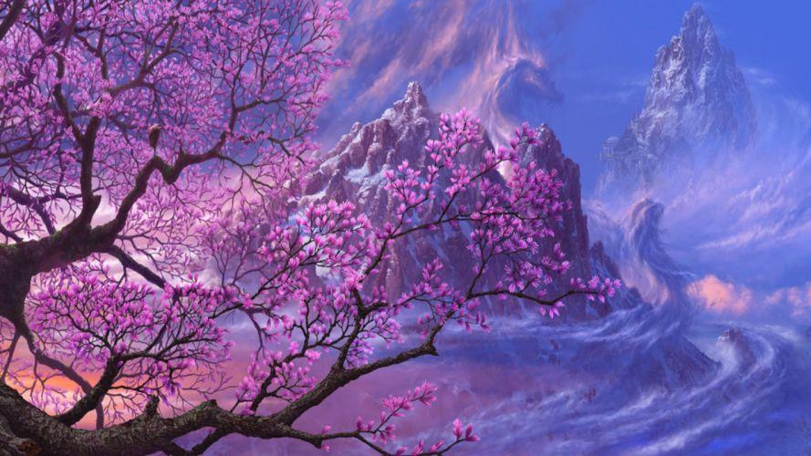 fantasy blossom tree art wallpaper