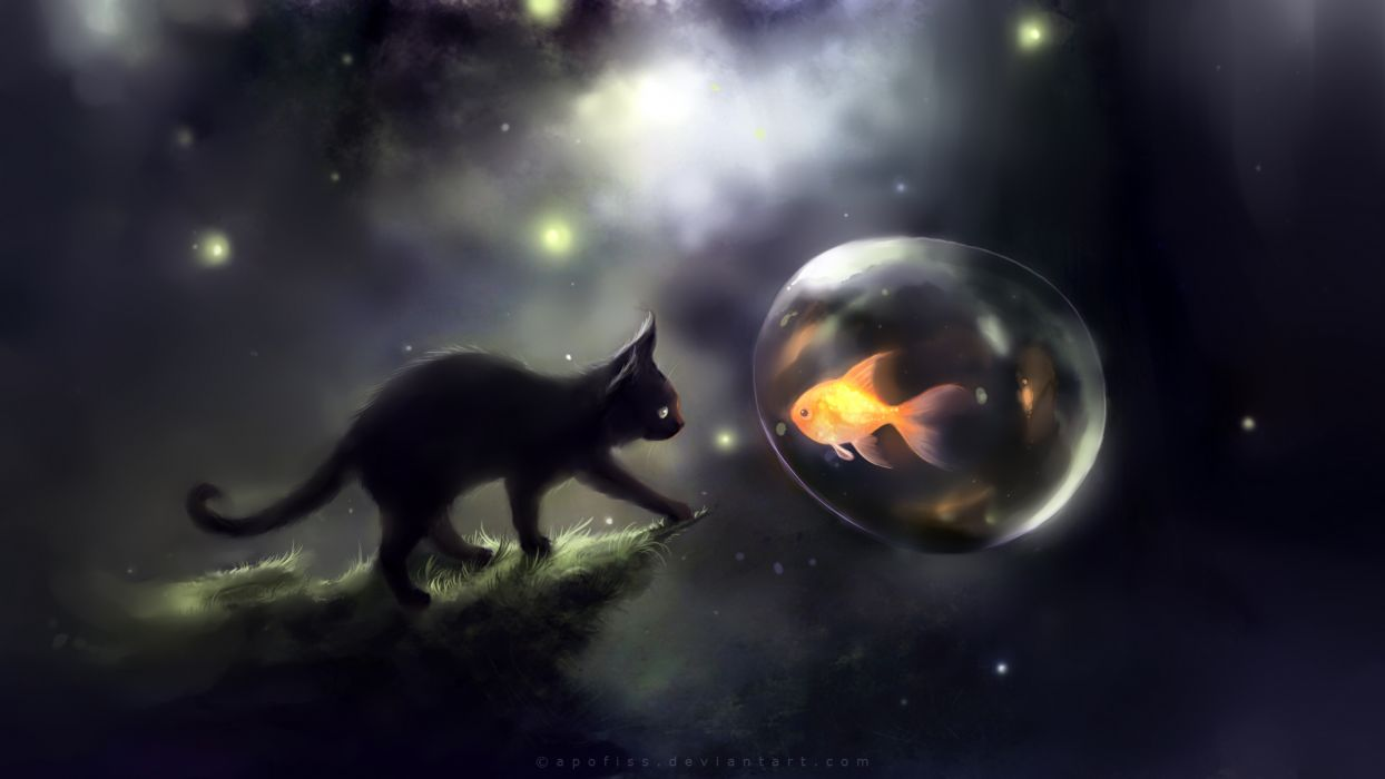 apofiss art cats fishes space sci fi wallpaper