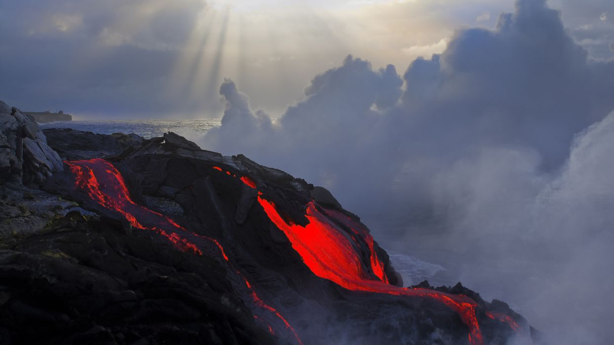 shore coast lava volcano wallpaper
