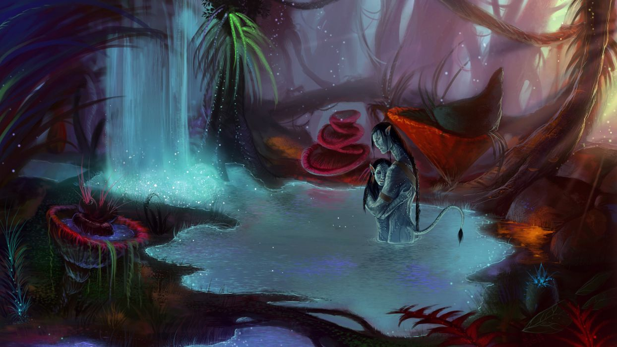 Avatar fantasy love romance pandora art waterfall wallpaper