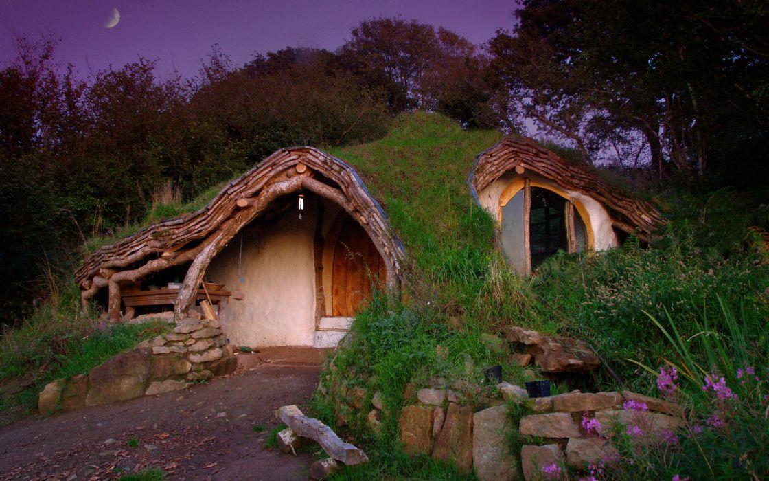 The Hobbit fantasy houses wallpaper