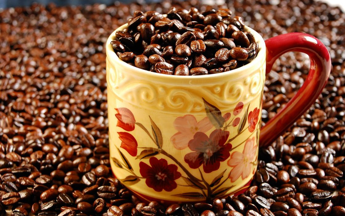 coffee cup coffee beans wallpaper