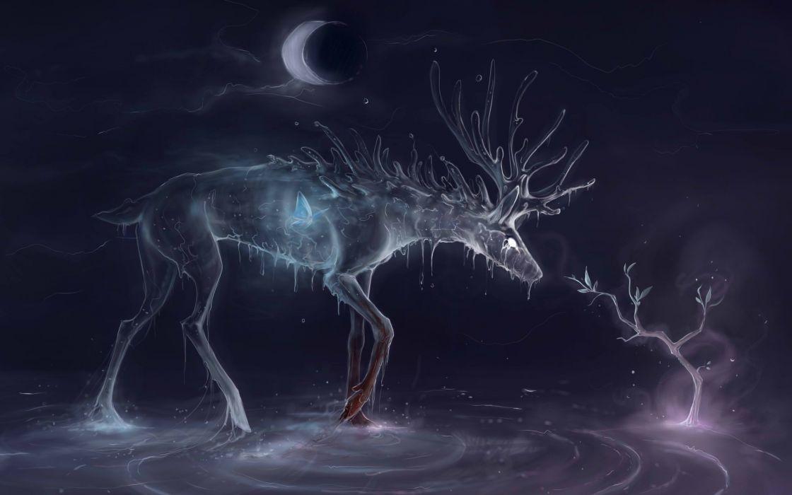 fantasy magic gothic deer animals wallpaper