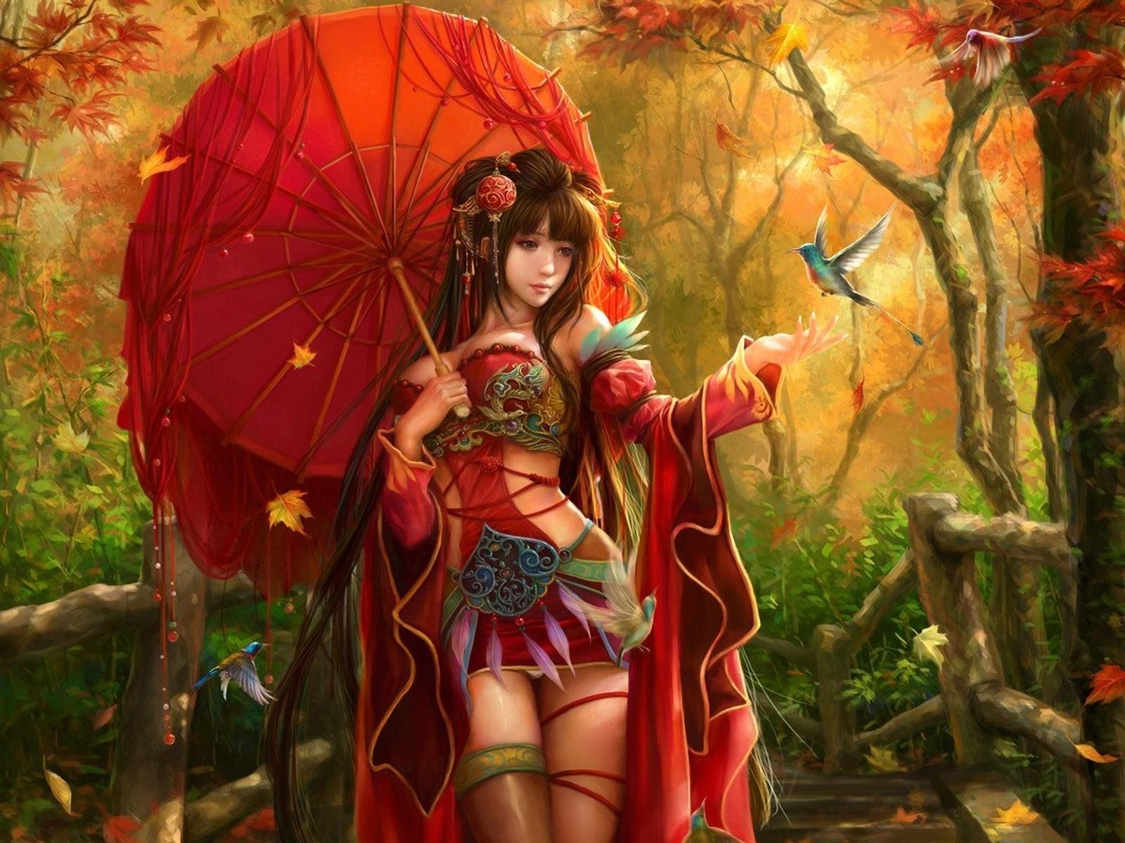 Fantasy women asian oriental umbrella birds trees forest for Oriental wallpaper