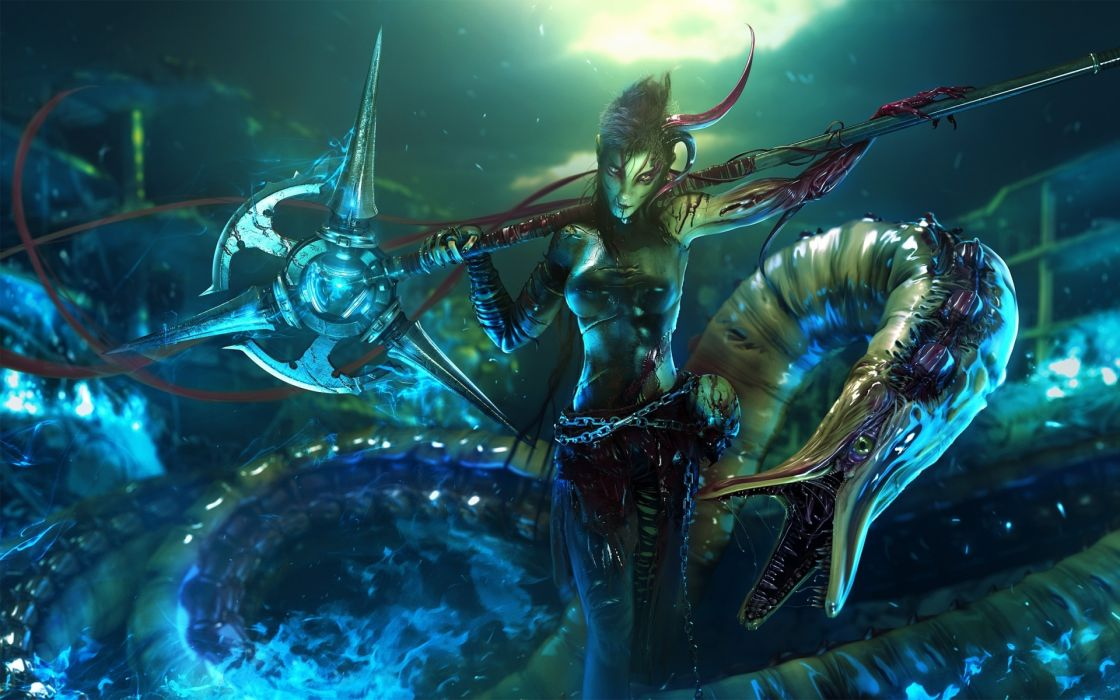 futuristic darkness digital art science fiction 3d crimson rod fantasy women magic wallpaper