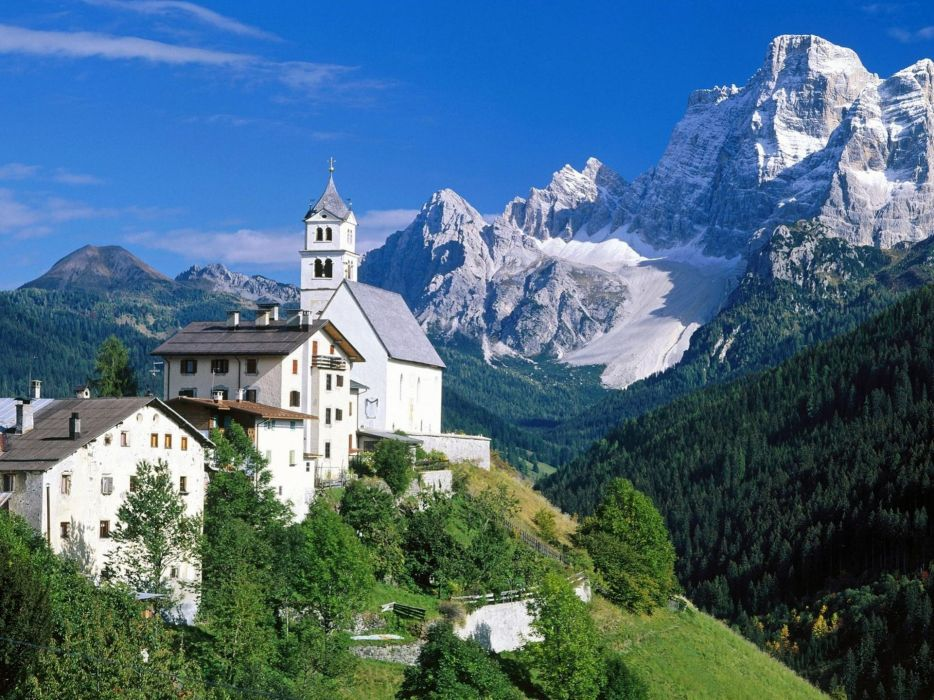 mountains buildings town wallpaper