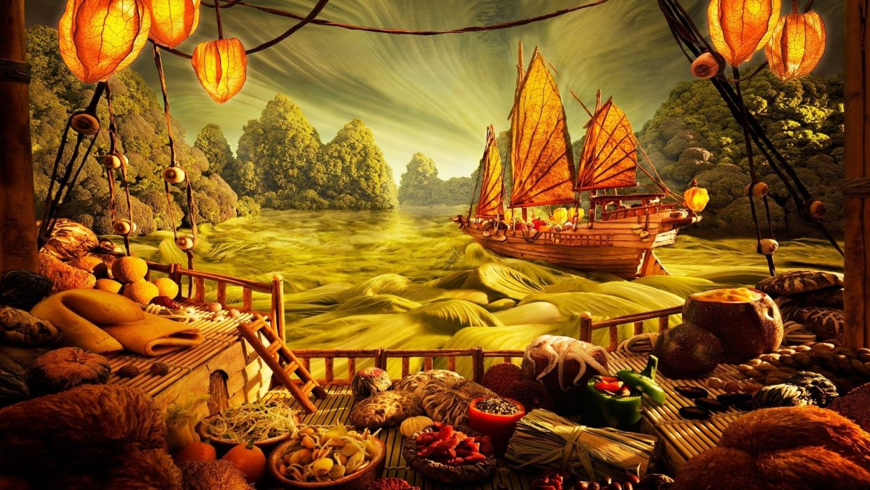 fantasy ships game art asian oriental wallpaper