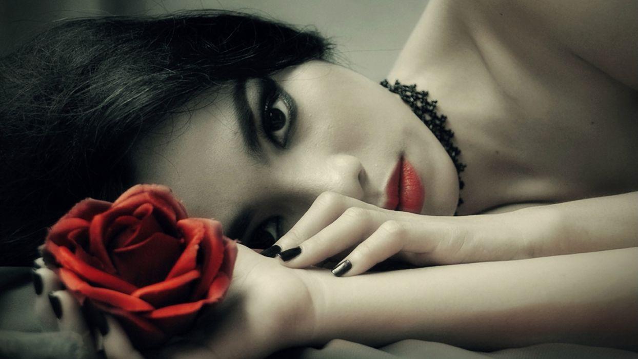 women fantasy dark gothic flowers wallpaper