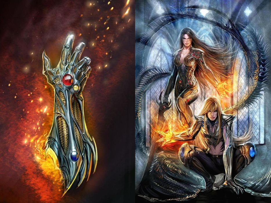 Witchblade comics art sci fi fantasy women magic fire wallpaper
