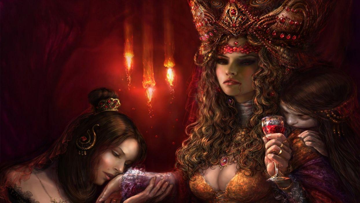 fantasy dark vampire women art wallpaper