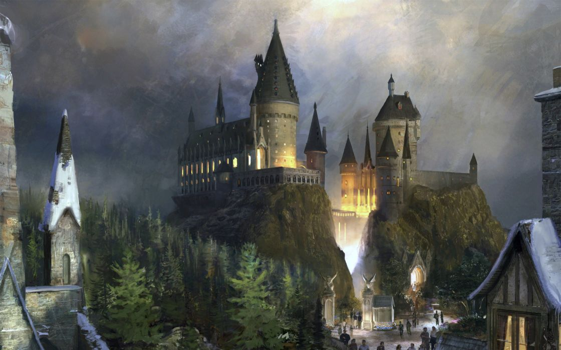 harry potter castle fantasy Hogwarts witvh wallpaper