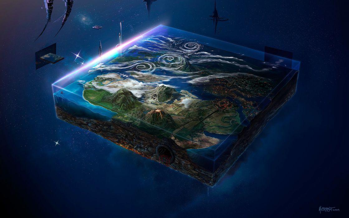 sci fi cg digital planets stars earth art wallpaper