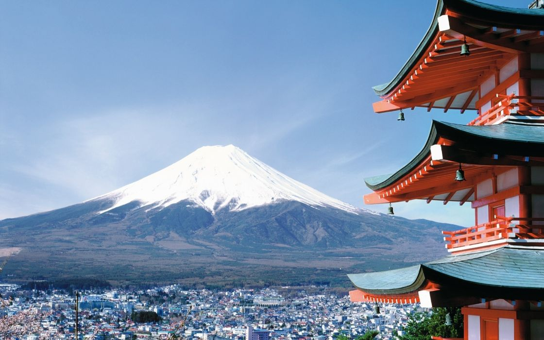 japan mountains volcano architecture asian oriental wallpaper