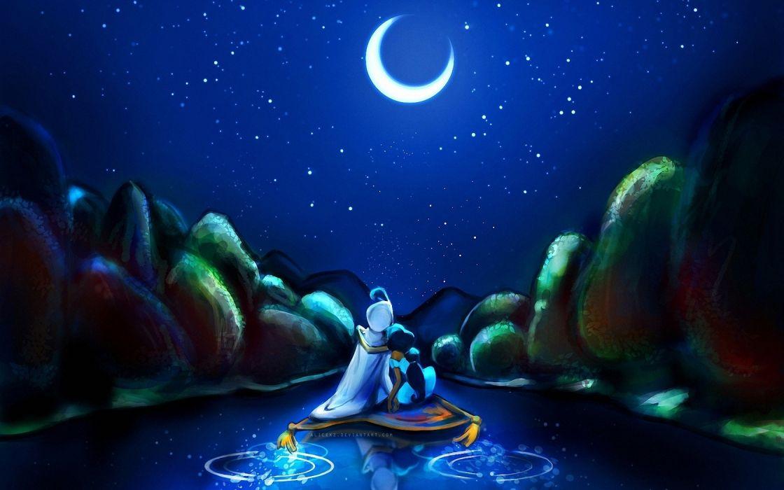 Aladdin Jasmine cartoon fantasy child art wallpaper