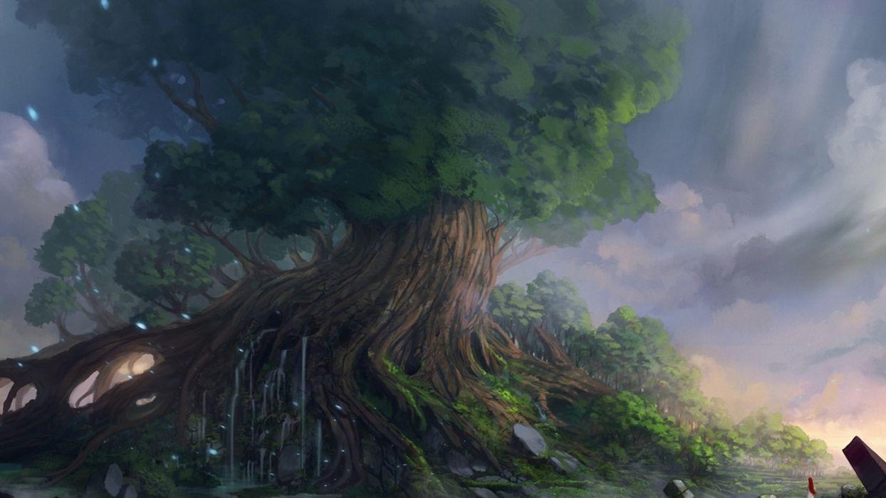 fantasy landscape art magic wallpaper