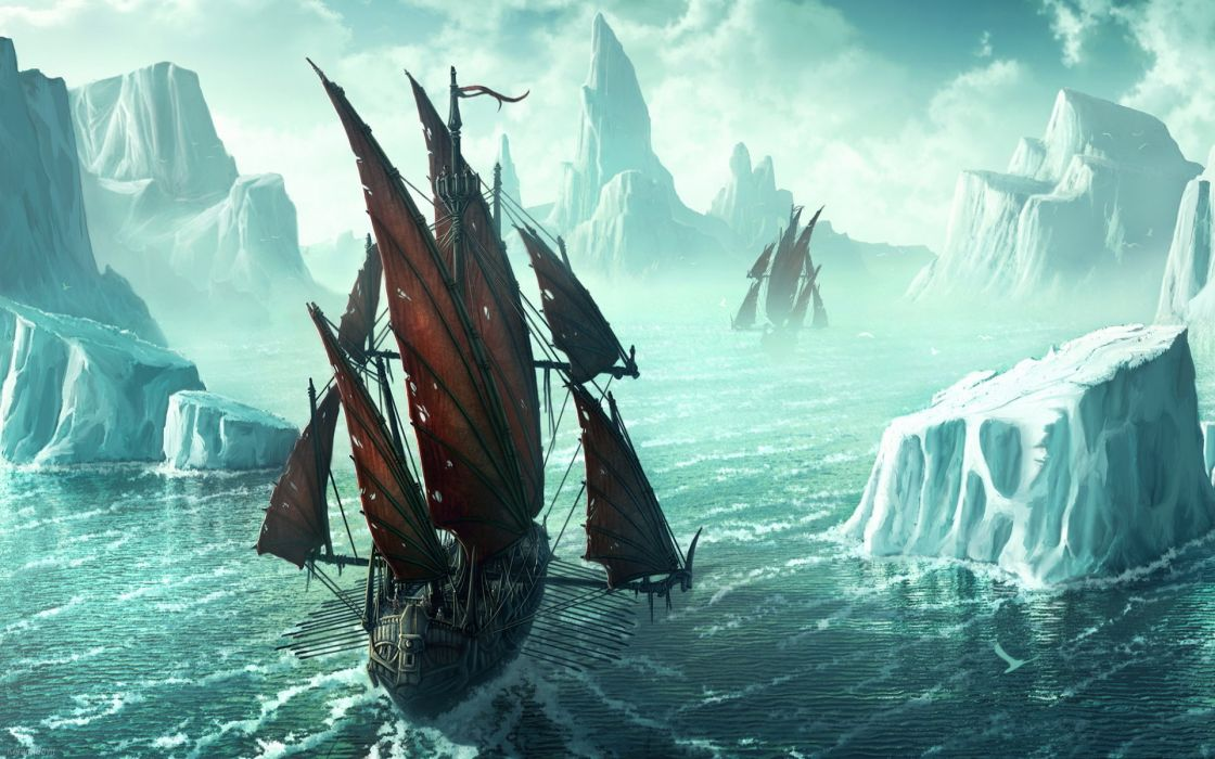 fantasy vehicles ship art winter wallpaper