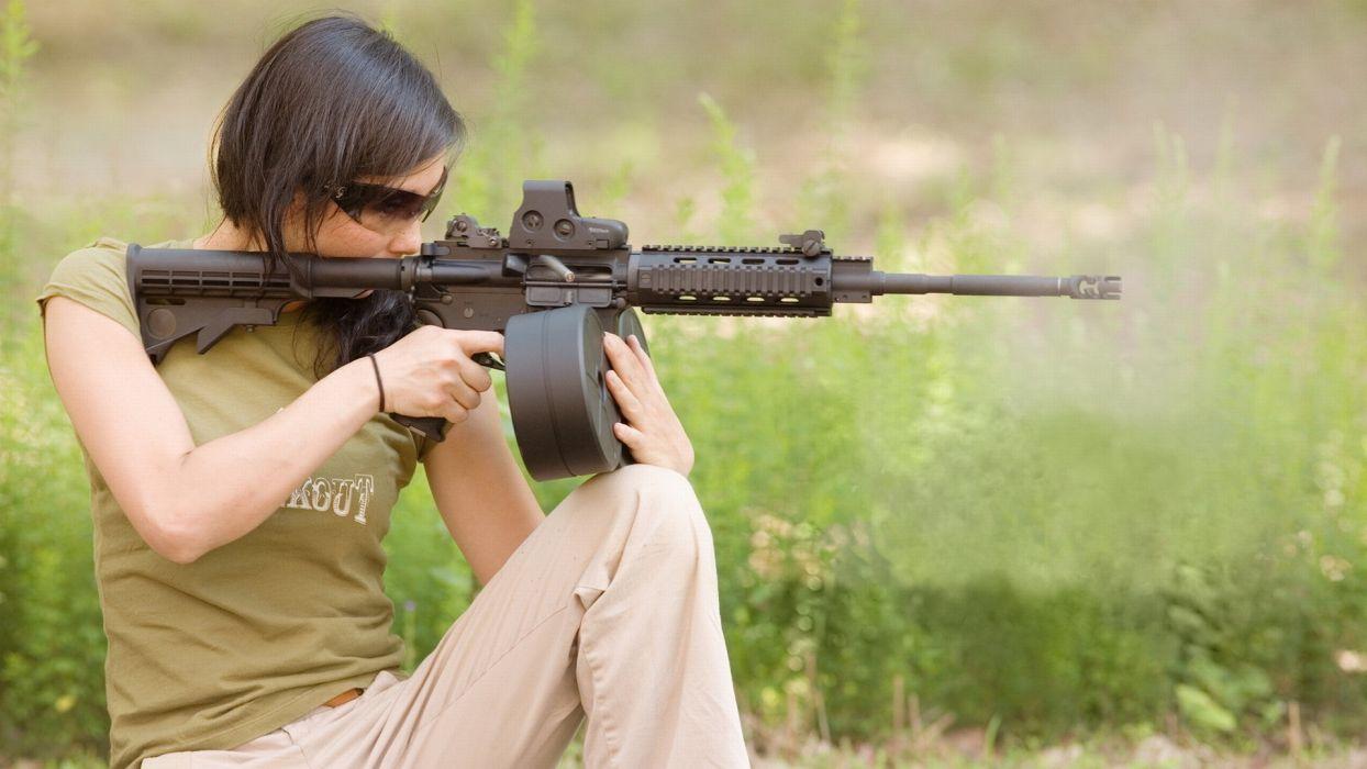 women weapons guns rifle sexy wallpaper