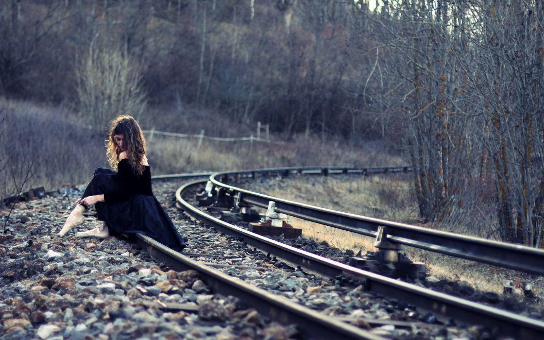 women train tracks gothic mood wallpaper