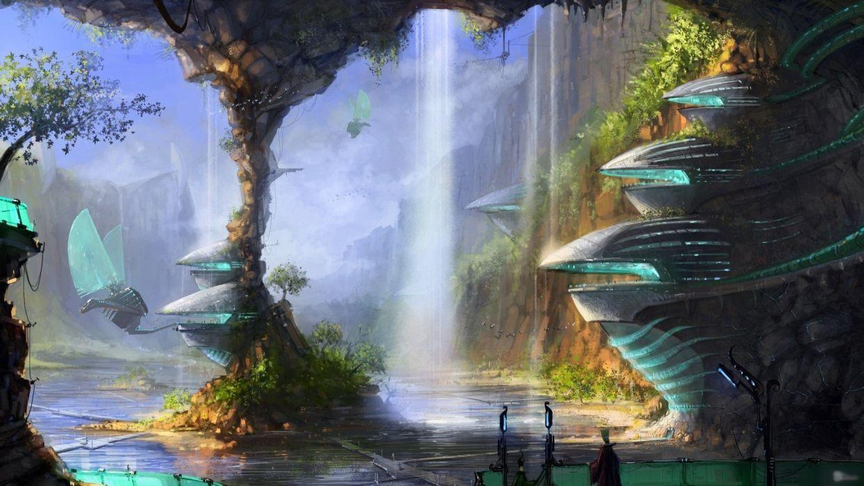 fantasy sci fi cities art wallpaper