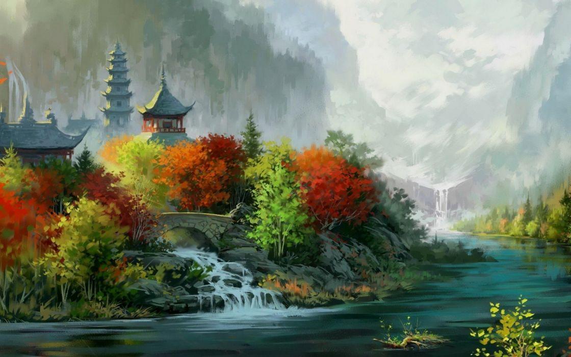 fantasy art painting asian oriental trees autumn fall rivers castle wallpaper